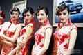 江淮车模集体秀露乳中式旗袍 美艳绝伦