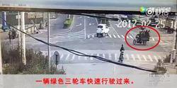 浙江宁波8人挤坐三轮车  被货车迎面撞飞!