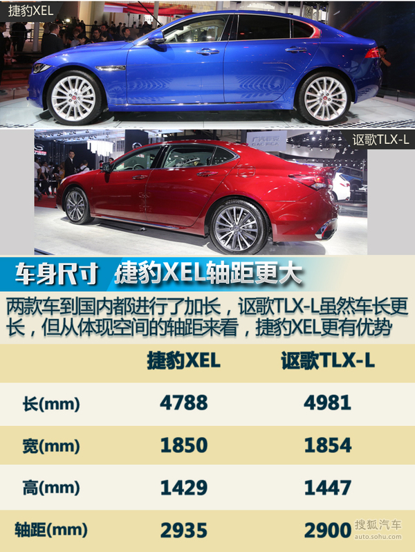 奇瑞捷豹XEL对比广汽讴歌TLX-L