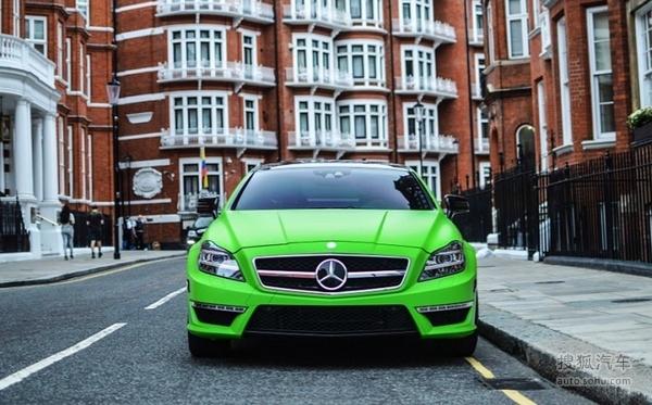 这个夏天流行苹果绿 奔驰cls amg改装车 高清图片