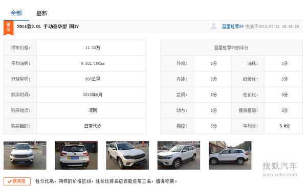 4款自主SUV口碑调查