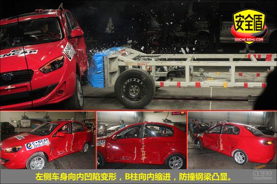 3km/h 备注 主要考验车身结构   侧面碰撞后,左侧车身变形,向内凹陷